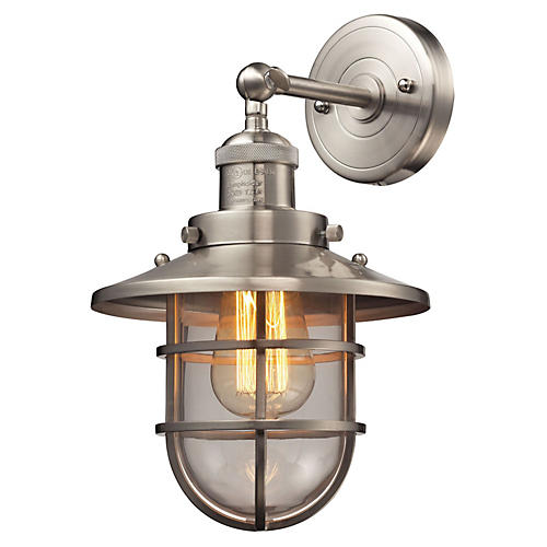 Seaport 1-Light Sconce, Satin Nickel