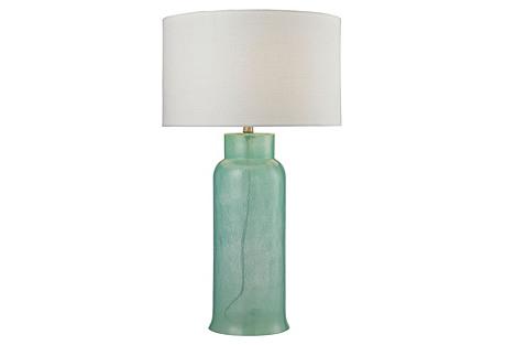 Glass Bottle Table Lamp, Seafoam