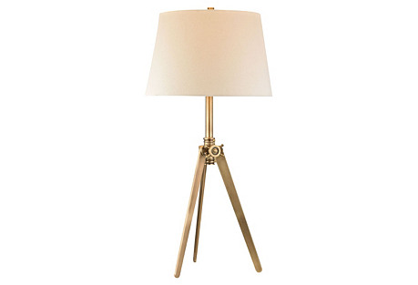 Pointed Tripod Lamp, Brass