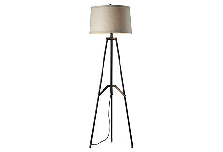 Tripod Floor Lamp, Black/Aged Gold