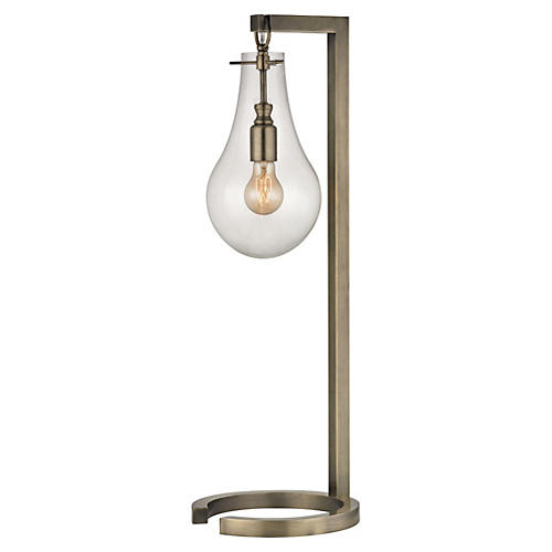 Metal Table Lamp, Antiqued Brass
