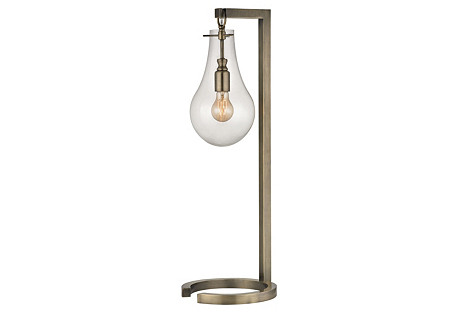 Metal Table Lamp, Antiqued Brass