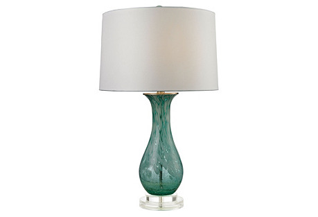 Swirl Table Lamp, Aqua