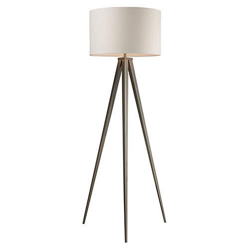 Salford Floor Lamp, Satin Nickel