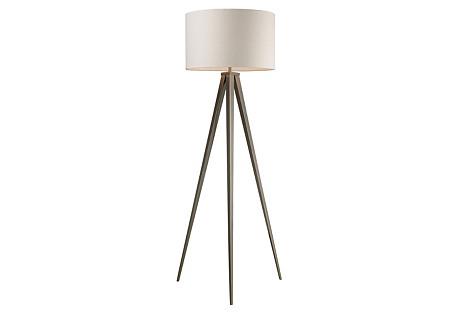 Salford Floor Lamp, Satin Nickel
