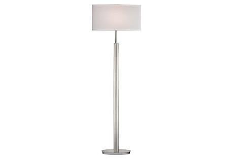 Port Elizabeth Floor Lamp, Satin Nickel