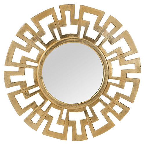 Greek Wall Mirror, Antiqued Gold