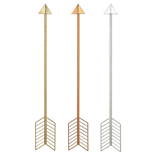 S/3 Metallic Arrows, Gold/Silver/Copper