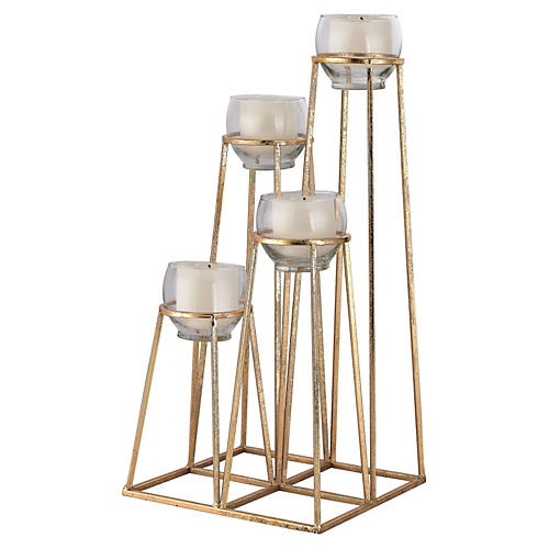 Skyline Tealight Holder, Gold