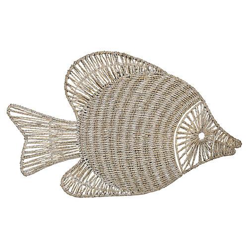 Hanging Wicker Fish, Whitewash