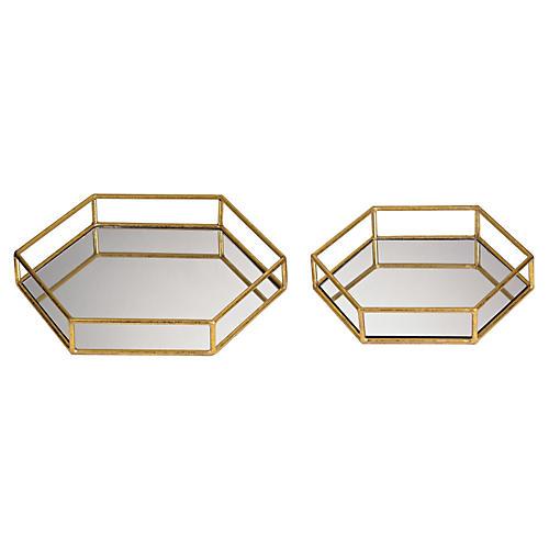S/2 Mirrored Hexagonal Trays, Gold
