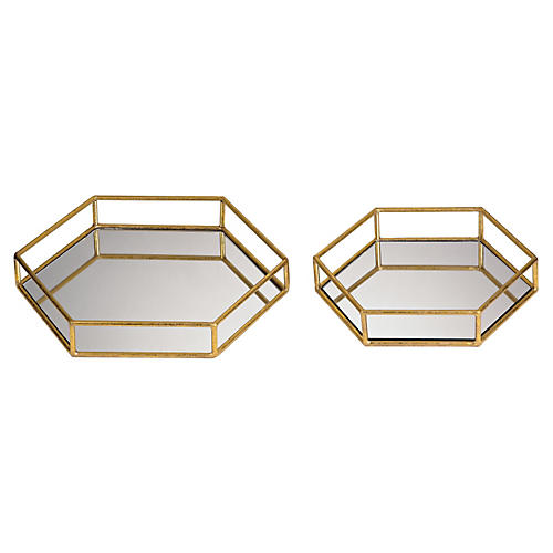 S/2 Mirrored Hexagonal Trays, Gold