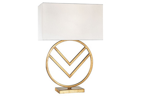 Munich Circle Table Lamp, Gold Leaf