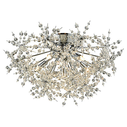 Snowburst 6-Light Semi-Flush, Chrome