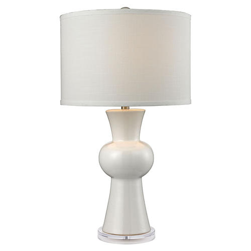 Ceramic Table Lamp, Gloss White