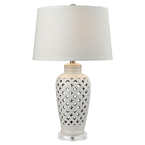 Openwork Ceramic Table Lamp, White