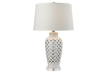 Openwork Ceramic Table Lamp, White