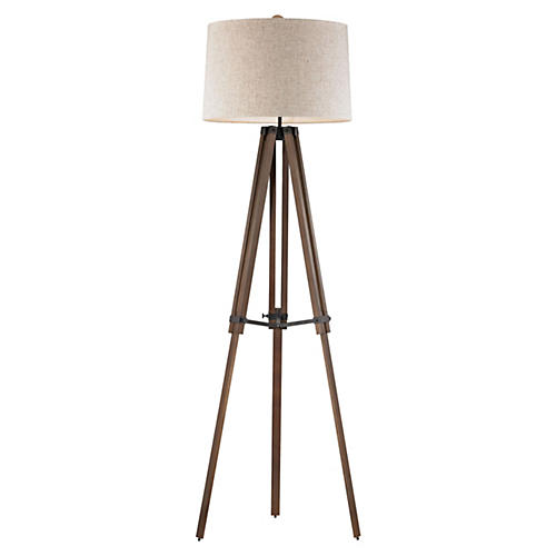 Wooden Brace Tripod Floor Lamp, Walnut
