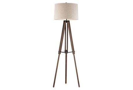 Wooden Brace Tripod Floor Lamp, Walnut