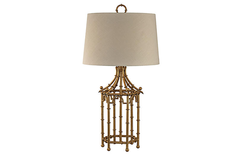 Bamboo Birdcage Lamp, Gold Leaf