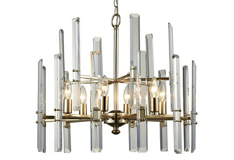 Arthur Chandelier, Antiqued Silver/Clear