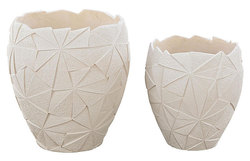 Asst. of 2 Origami Planters, Matte White