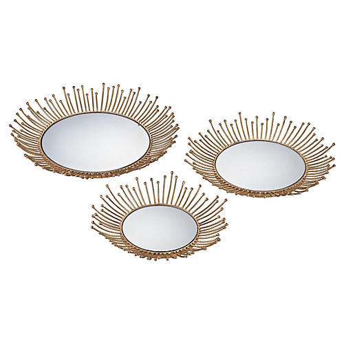 Asst. of 3 Puddle Trays, Gold/Mirror