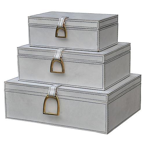 Asst. of 3 Dennett Boxes, Aged White/Brass