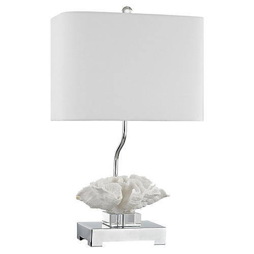 Prince Edward Crystal Table Lamp, White/Nickel