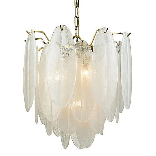 Hush Pendant, White/Brass