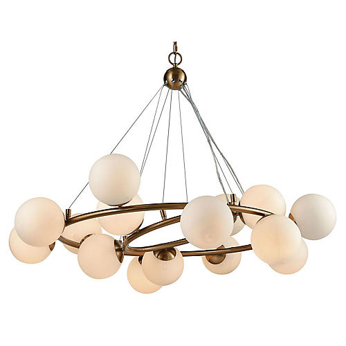 Glenn 15-Light Chandelier, Matte Gold/White