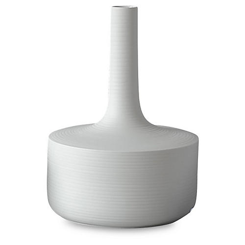 "14"" Magnolia Porcelain Vase, White"