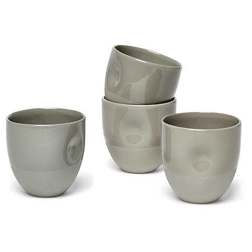 S/4 Unique Thumbprint Coffee Cup, Steel Gray