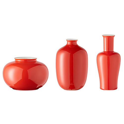 Asst. of 3 Kyra Mini Vases, Red