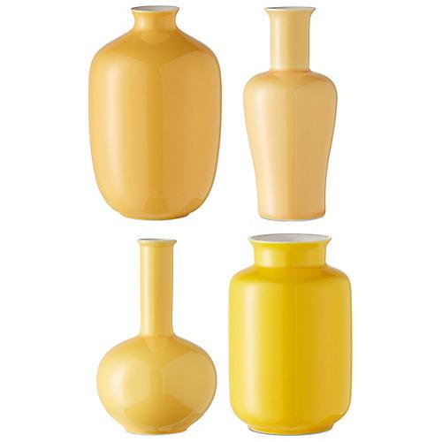 Asst. of 4 Kyra Mini Vases, Lemon