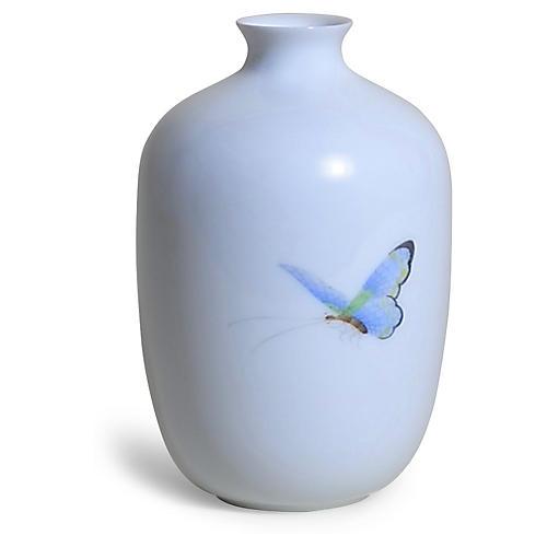 """5"""" Terrace Dragonfly Vase, White/Multi"""