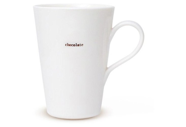 "S/2 Porcelain ""Chocolate"" Latte Mugs"