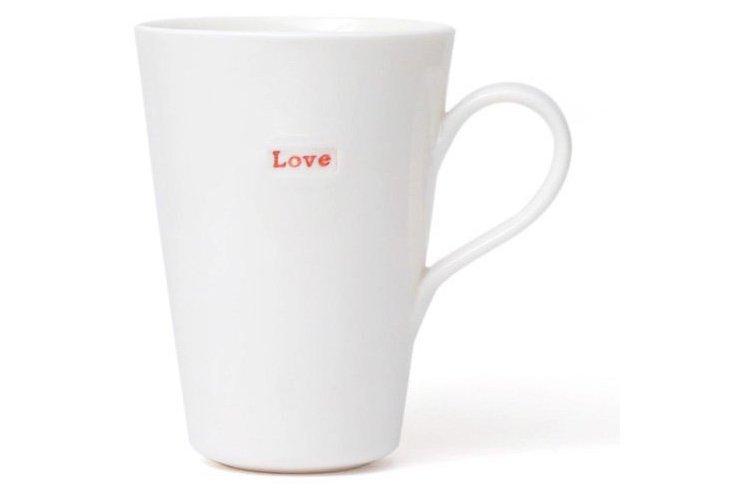 """S/2 Porcelain """"Love"""" Latte Mugs"""