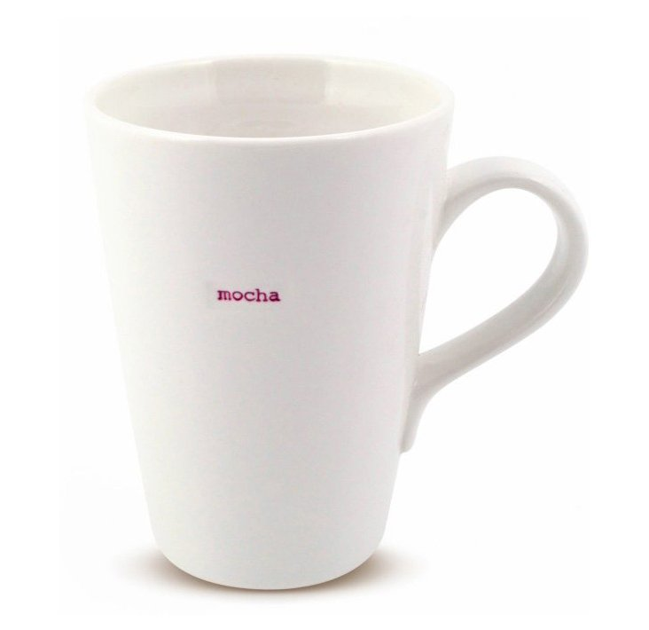 """S/2 Porcelain """"Mocha"""" Latte Mugs"""