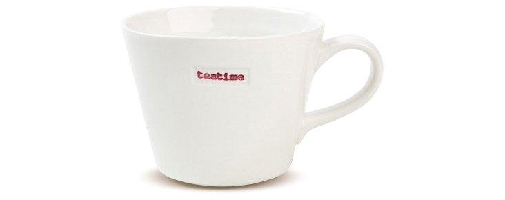 "S/2 Porcelain ""Teatime"" Bucket Mugs"