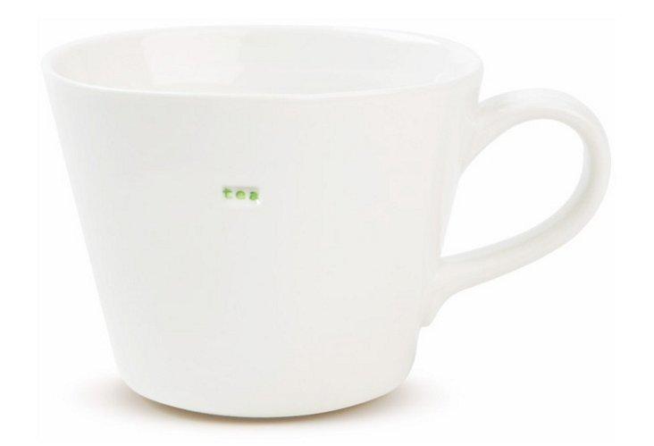 """S/2 Porcelain """"Tea"""" Mugs"""