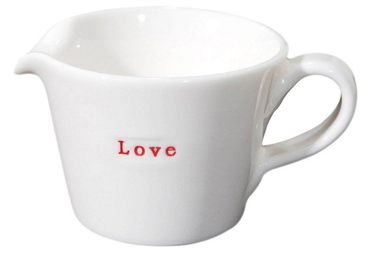 "S/2 Porcelain ""Love"" Jugs, Small"
