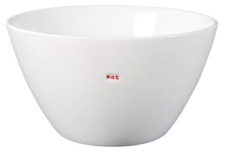 "S/2 Porcelain ""Eat"" Bowls"