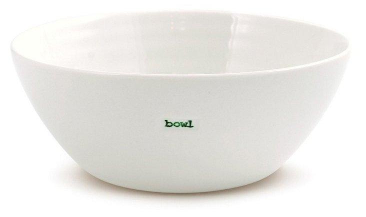 """S/2 Porcelain """"Bowl"""" Bowls, 7"""""""