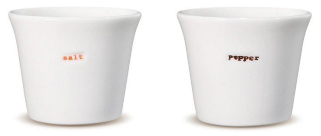 "2-Pc Porcelain ""Salt"" & ""Pepper"" Pot Set"