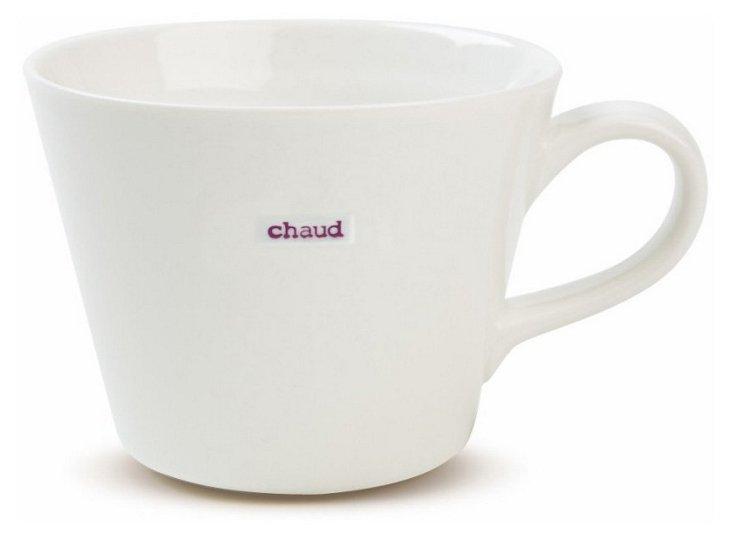 """S/2 Bucket Mugs, """"Chaud"""""""