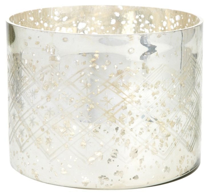 Etched Glass Tea Light, Silver