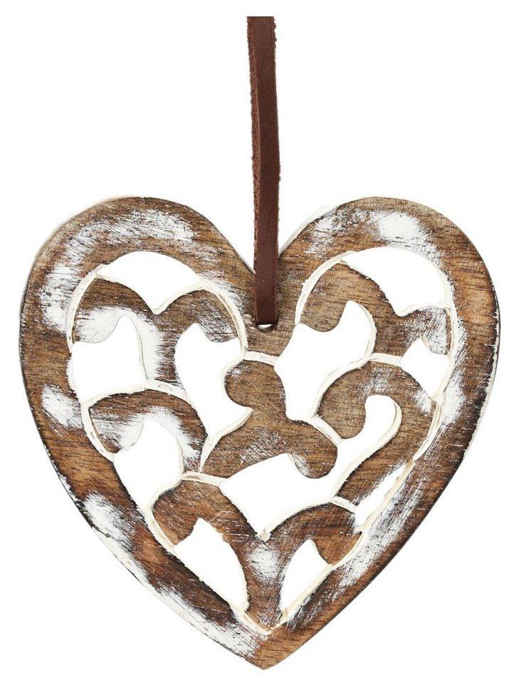 Medium Anya Carved Heart, White