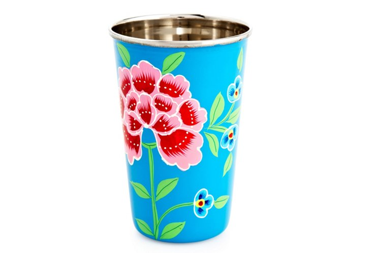S/2 Franjipani Floral Cups, Blue