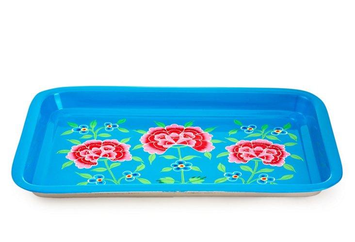 Frangipani Floral Tray, Blue